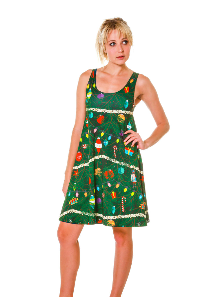 Reversible Blue Green Plaid And Camo Christmas Tree Dress