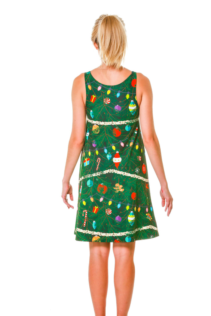 reversible blue green plaid christmas tree camo dress - Christmas Tree Dress