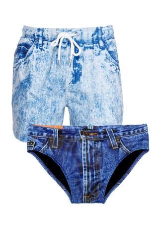 men's fake denim swimsuit combo