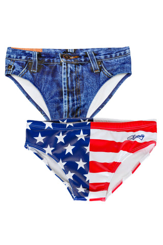American Flag Swim brief and Denim swim brief combo pack