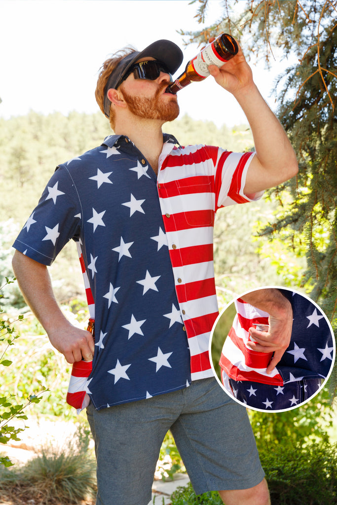 The Johnny Adams | Men's American Flag Stretch Hawaiian Shirt