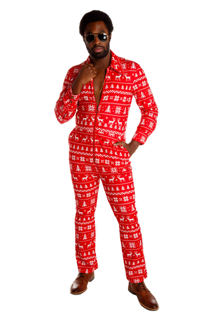 The Blitzen Bulge Big Zip | Red & White Christmas Flight Suit