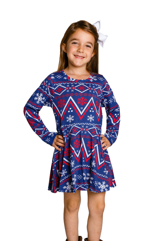 Toddler Christmas Dress.The Navy Nordic Navy Fair Isle Toddler Holiday Dress