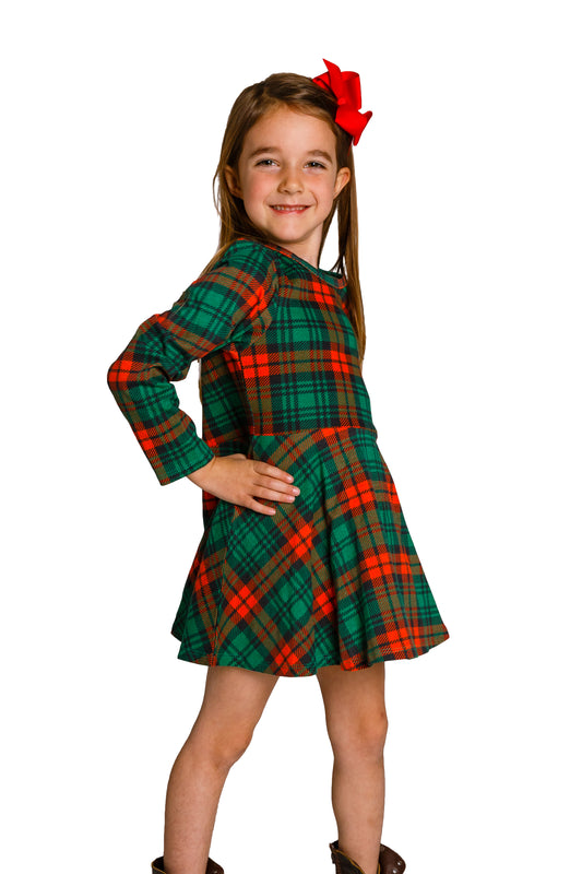 Toddler Christmas Outfit.The Lincoln Log Little Lady Red Green Plaid Toddler Christmas Dress