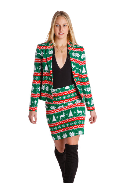 ccb9a67a4 Women's Festive Green Fair Isle Suit by Opposuits