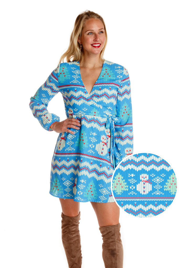 The Frosted Tips | Light Blue Snowmen Christmas Wrap Dress