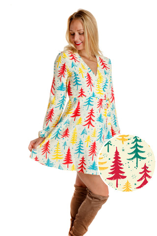 The Pine Tree Playgirl | Classy Trees Christmas Wrap Dress | Pre-Order | Delivery early November 2018
