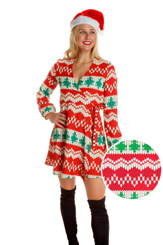 500fec7211ea The Red Ryder | Red Knit Print Christmas Wrap Dress