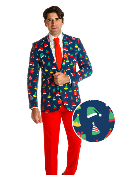 elf hat ugly christmas sweater suit for men