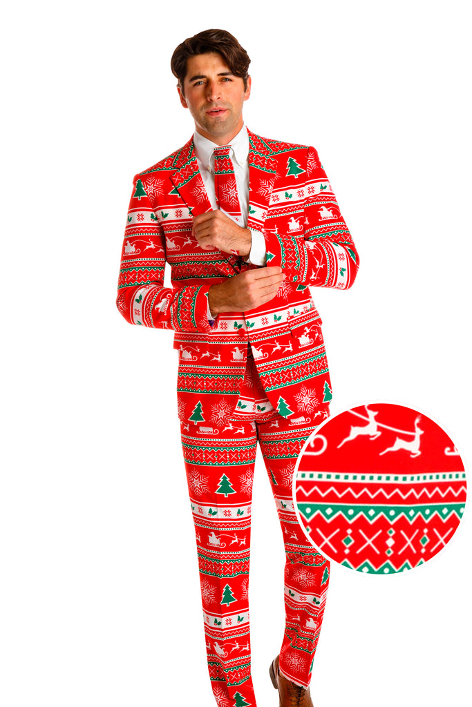 The Soiree Of Sin | Red Ugly Christmas Sweater Suit By Opposuits