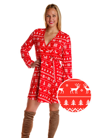 The Sleigh Ride Starlet | Red & White Fair Isle Christmas Wrap Dress | Pre-Order | Delivery early November 2018