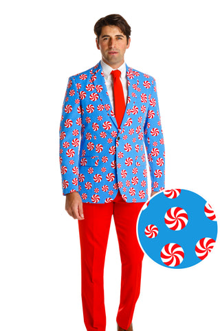 peppermint ugly christmas sweater suit for men