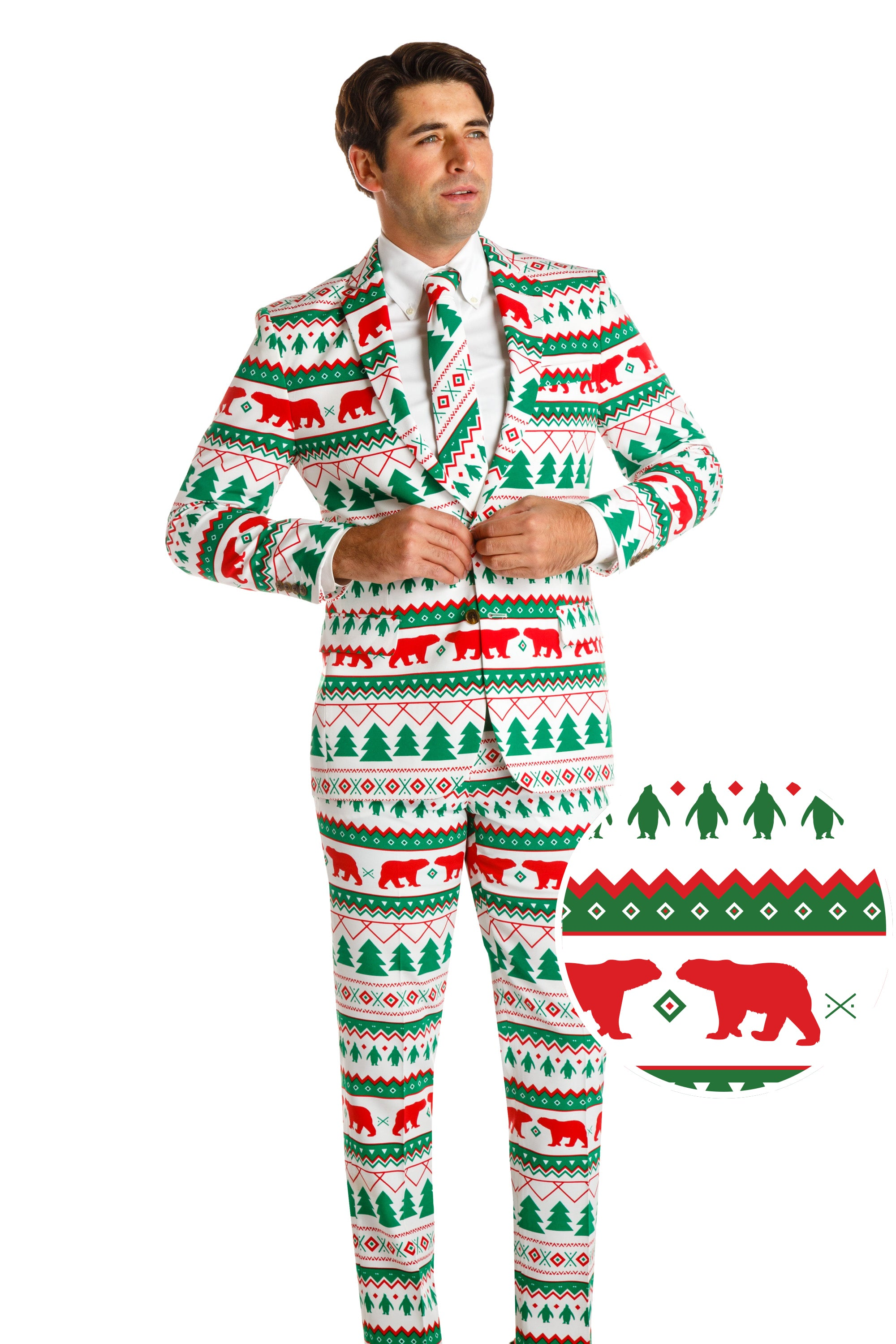 Christmas Suit.The Polar Bear Bandito Green And White Fair Isle Christmas Suit