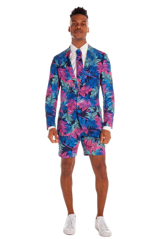 The Tropical Tycoon | Neon Palm Tree Suit