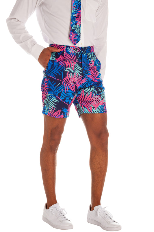 The Tropical Tycoon | Neon Palm Tree Shorts