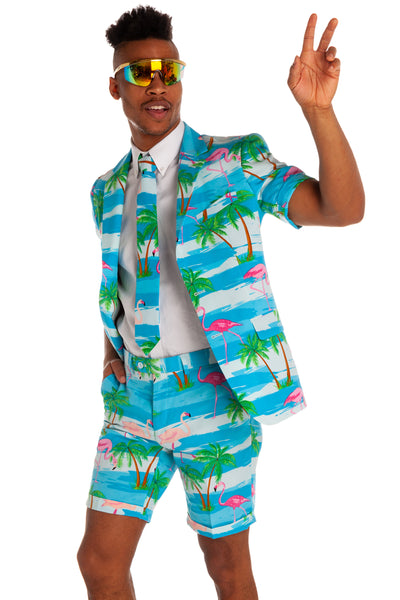 mens flamingo short sleeve suit
