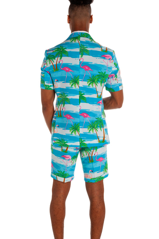 hawaiian short sleeve suit with flamingos