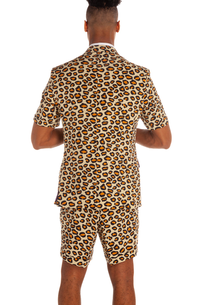 leopard short sleeve suit for men