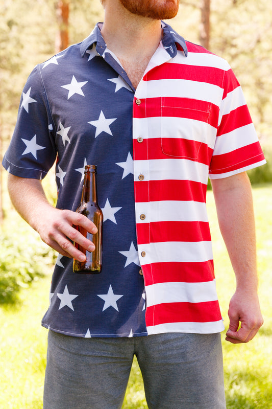 Men's american flag button up shirt