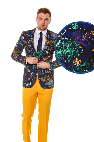The Masquerade of Mardi Gras Blazer & Tie - Shinesty