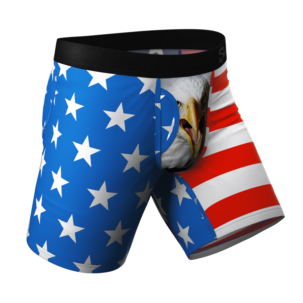 The Mascot | Long Leg American Flag Ball Hammock Pouch Underwear With Fly