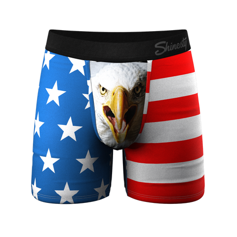 American USA Flag Silky Patriotic Fun Unisex Briefs Boxer Shorts Gifts for Men Women