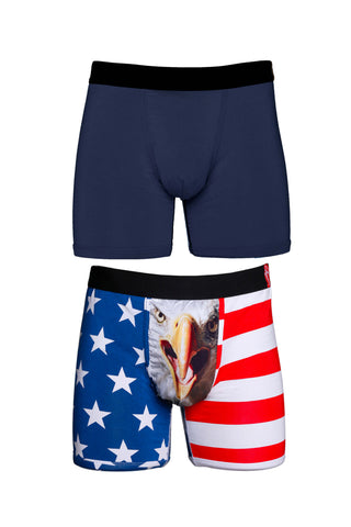 Mens formal informal USA and solid navy blue  2 pack of boxer briefs