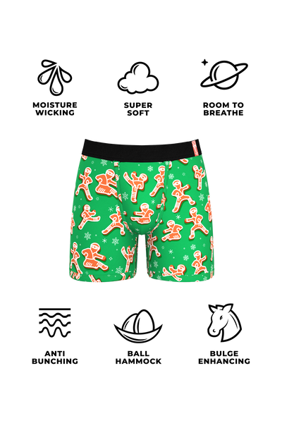 The Ninjabread Nuts | Green Gingerbread Ball Hammock Boxer Briefs