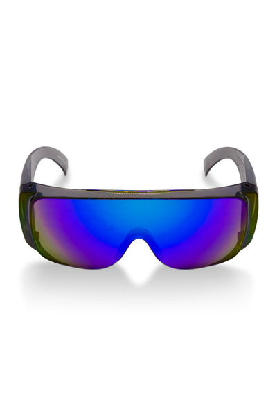 00249ed3054 The Le Sailors O.G. Grandma Blue Mirrored Sunglasses. retro Blue wrap  around sunglasses