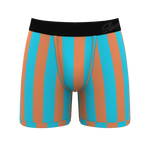 Orange And Teal Striped Ball Hammock Boxer Briefs