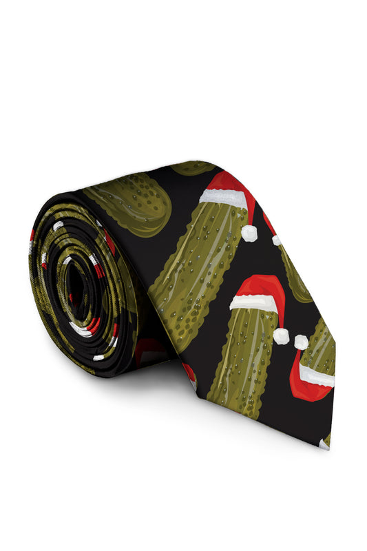 Pickle Print Christmas Festive Mens Tie