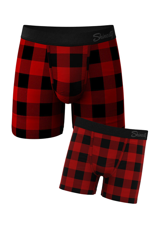 the plaid with dad matching boxer packs