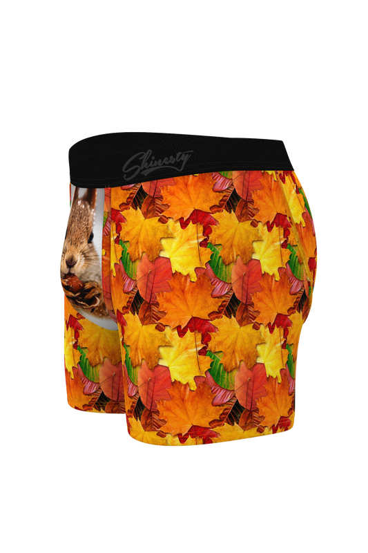 Squirrel Boxers with Fall Leaves