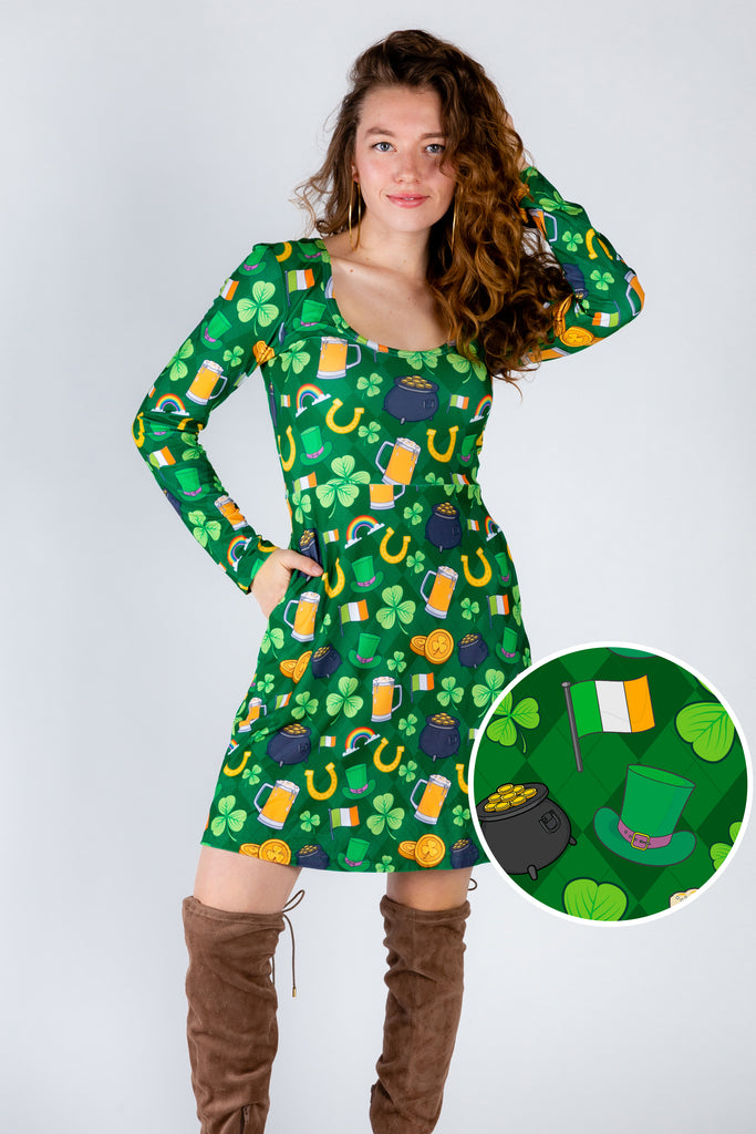St. Pat's Gluttony | Green Irish Patterned Skater Dress