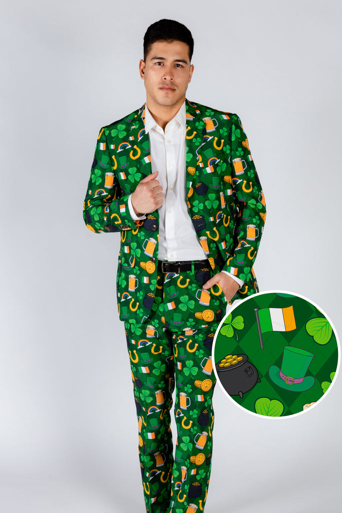 St. Pat's Gluttony | Green Irish Pattern Suit Blazer