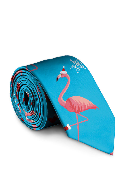 Flamingo Print Christmas Blue Mens Tie