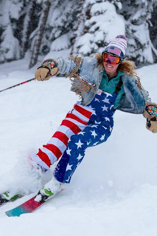How's Your Aspen Women's American Flag Ski Bibs - Shinesty