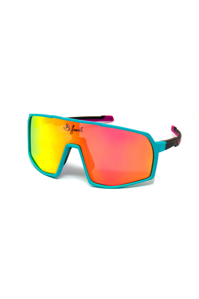 The Lone Wavelength | Teal and Pink Retro Sunglasses