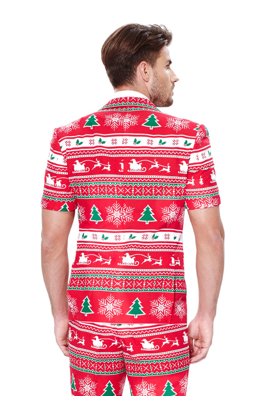 Red Ugly Christmas Sweater Short Suit For Men