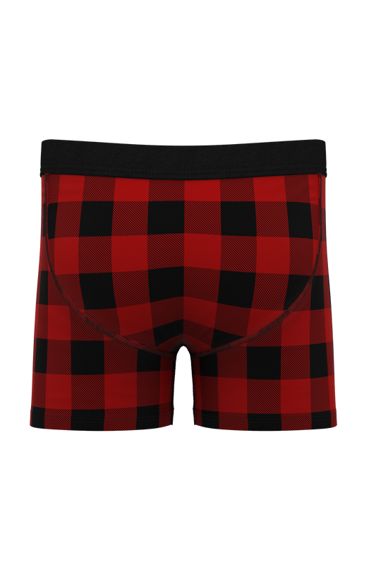 red and black buffalo check boxers for boys
