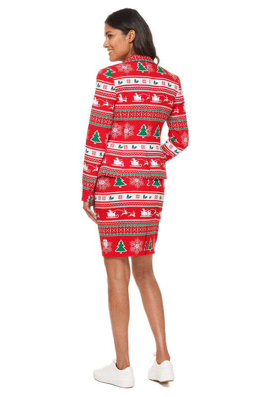 Women's red knit christmas suit