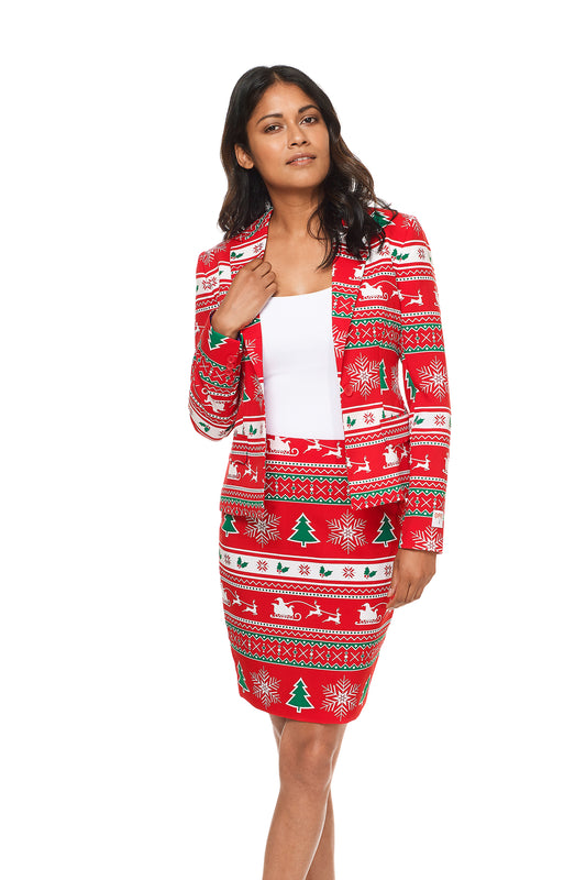 Ladies red knit ugly christmas sweater suit