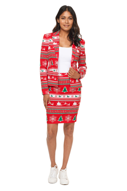 Red ladies christmas suit