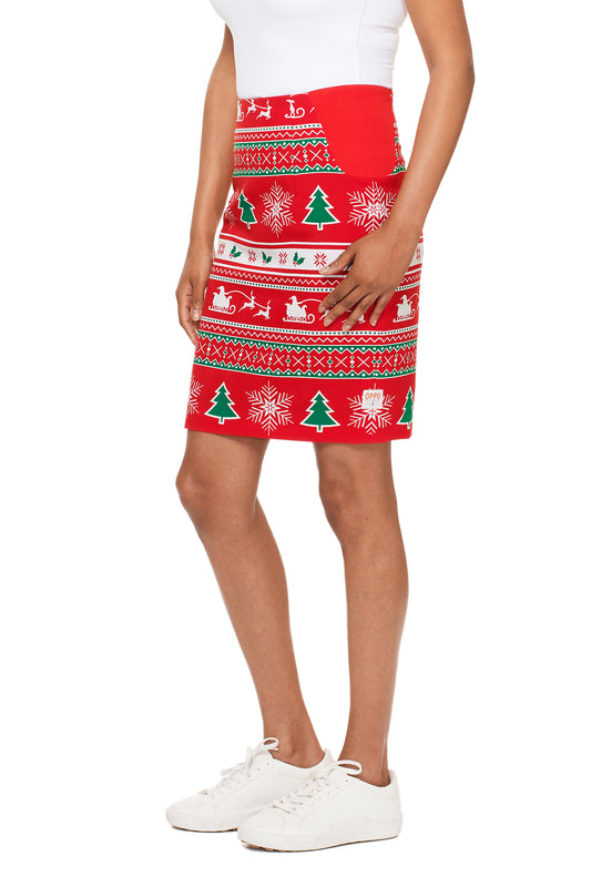 Red women's christmas skirt suit