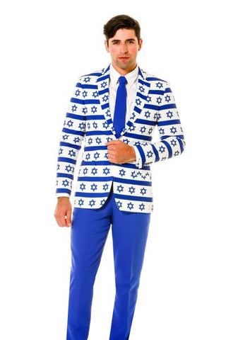 White And Blue 3 Piece Hanukkah Suit