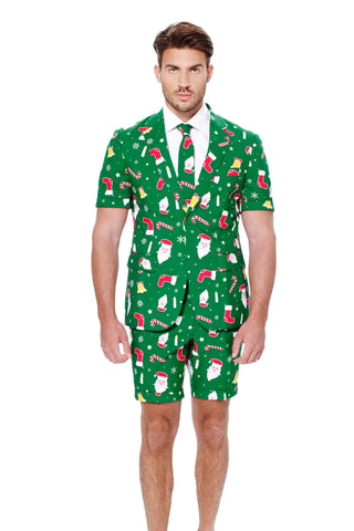 Green Patterned Ugly Christmas Sweater Short Suit by Opposuits