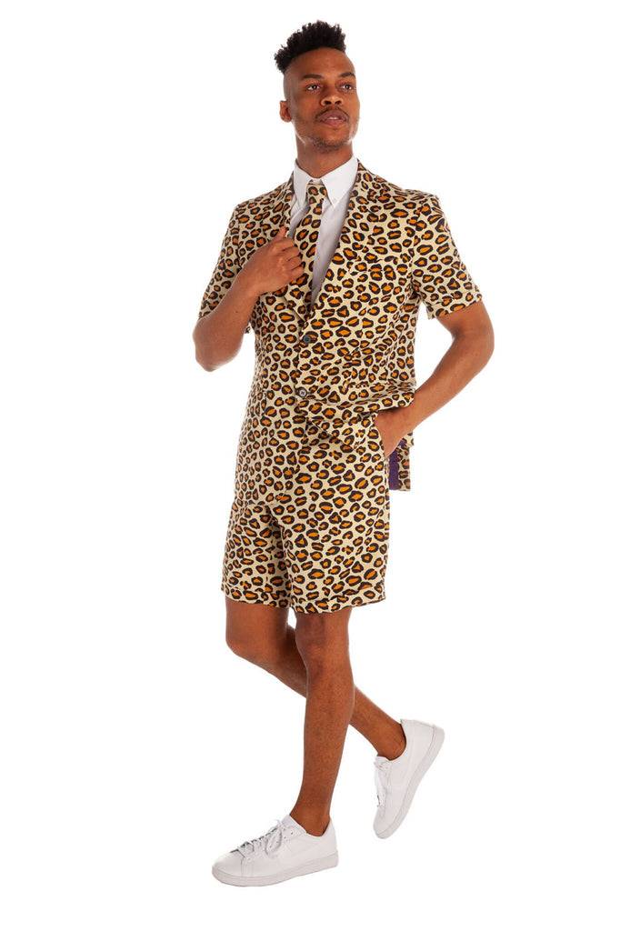 The Summer Jungle Cat Leopard Print Short Suit by Opposuits