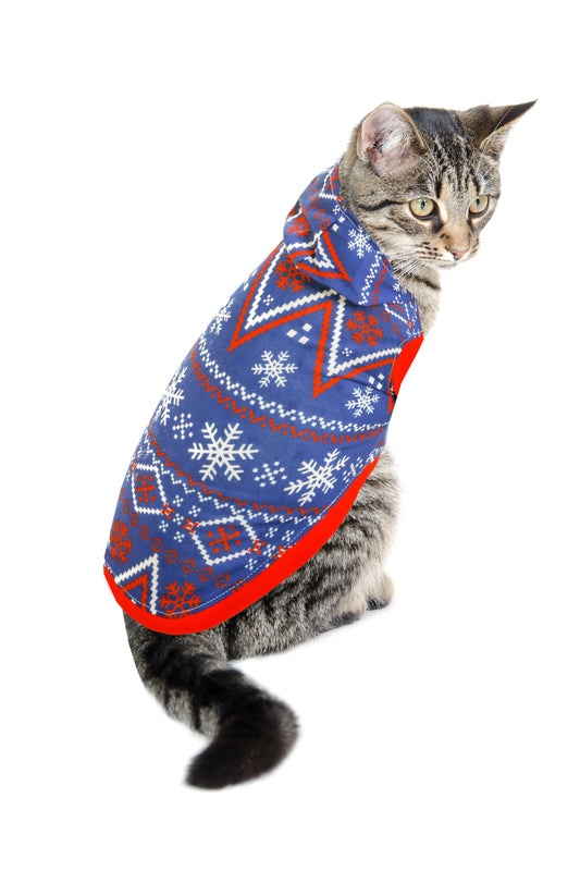 Navy Nordic Cat Ugly Christmas Sweater Costume Hoodies by Shinesty