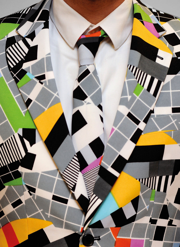 Mens Retro 80s Crazy Print Suit