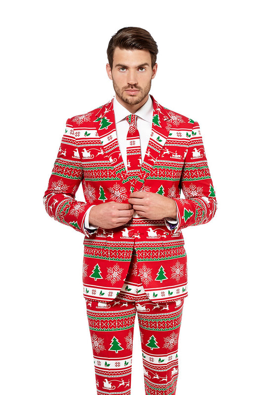 Red Ugly Christmas Sweater Pattern Suit